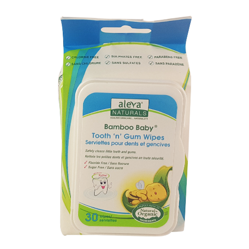 Aleva Naturals Organic Bamboo Baby Tooth & Gum Wipes, 30 Wipes