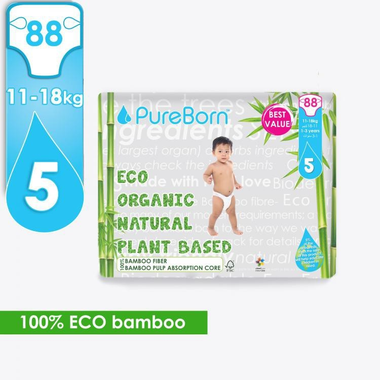Pure Born Organic Natural Plant Based Bamboo Diaper Size 5, 88s