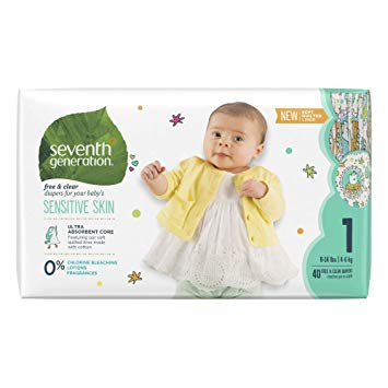 Seventh Generation Free & Clear Diapers Size 1, 40 pieces