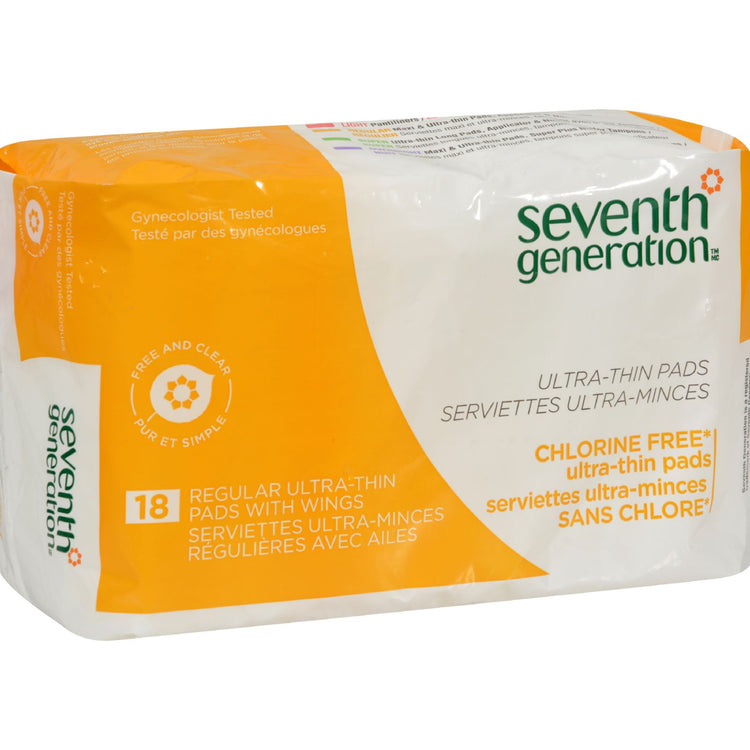 Seventh Generation Free & Clear Ultra Thin Pads. Regular with Wings 18 pads