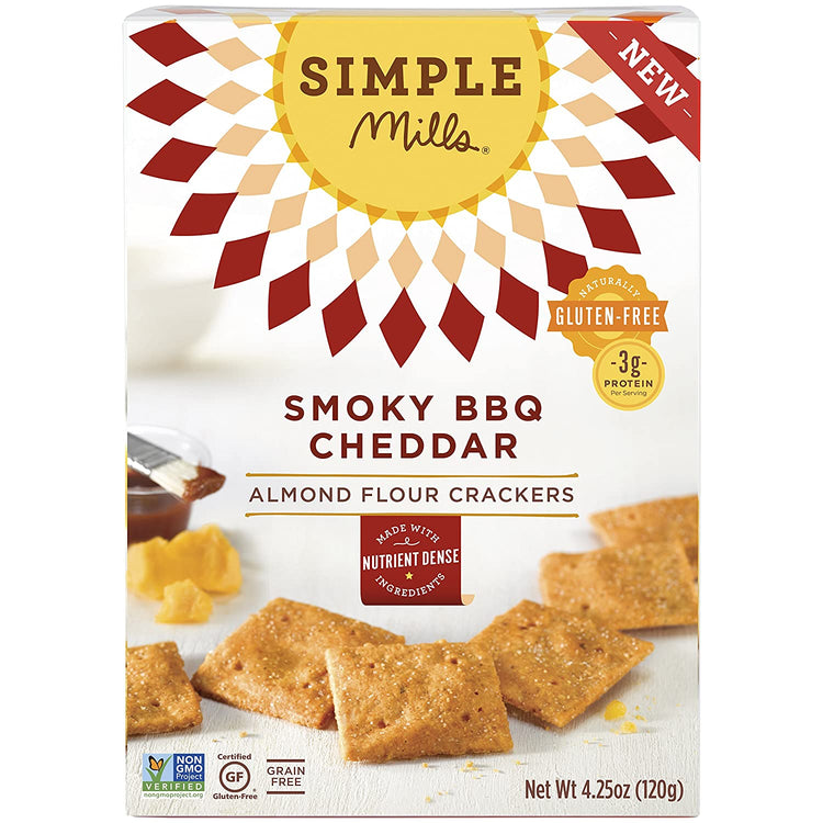 Simple Mills Gluten Free Almond Flour Crackers Smoky BBQ Cheddar 120g