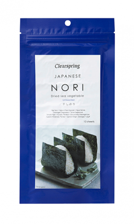 Clearspring Nori Dried Sea Vegetable Unroasted 25G, 10 Sheets