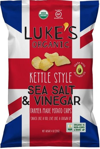 Luke's Organic Kettle Style Sea Salt & Vinegar 113g, NON GMO