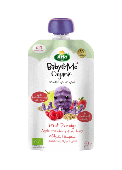 Arla Baby & Me Organic Fruit Porridge 120g (Apple, Strawberry & Raspberry)