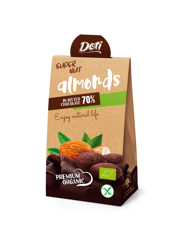Doti Premium Organic Super Nut Almonds in Bitter Chocolate 70% 50g