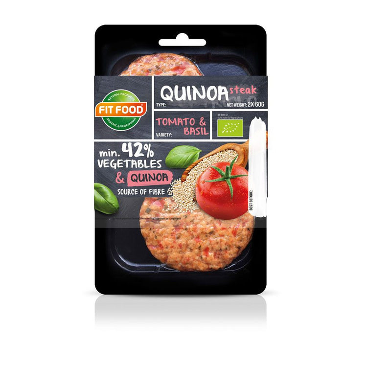 Fit Food Organic Tomato & Basil Quinoa Steak 2x75g