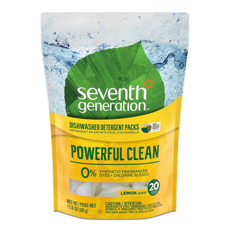 Seventh Generation Dishwasher Detergent Packs Lemon Scent 360g