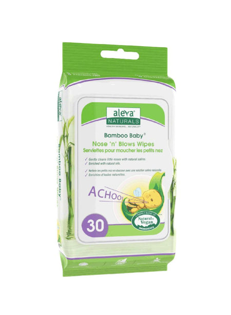 "Aleva Naturals Bamboo Baby Nose ""n"" Blows Wipes 30s"