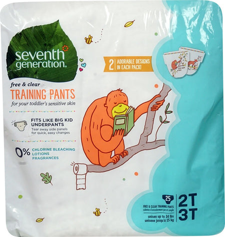 Seventh Generation Free & Clear Diapers Training Pants 2T-3T, 25 pieces