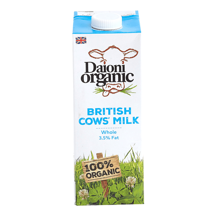 Daioni Organic British Cow's Milk Whole 3.5% Fat 1L