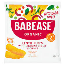 Babease Organic Lentil puffs with cheddar cheese and Chives (7+Months) 20gr