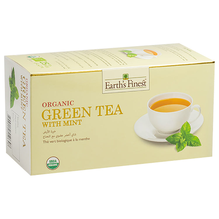 Earth's Finest Organic Green Tea with Mint, 25 tea bags