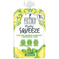 Piccolo Organic Mighty Squeeze Pear, Pea, Banana & Avocado + Amaranth + Mint 100g