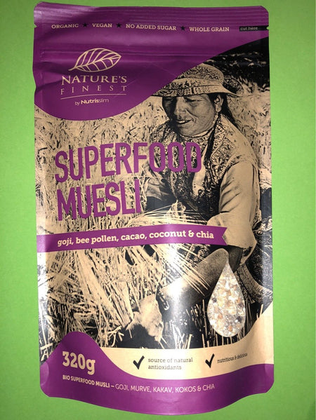 Nature Finest Organic Superfood Muesli Goji, Bee Pollen, Cacao, Coconut & Chia 320g