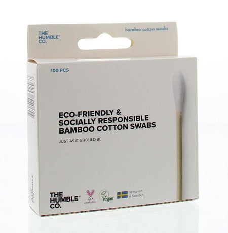 The Humble Co. Eco-Friendly & Socially Responsible Bamboo Cotton Swabs, 100 pieces