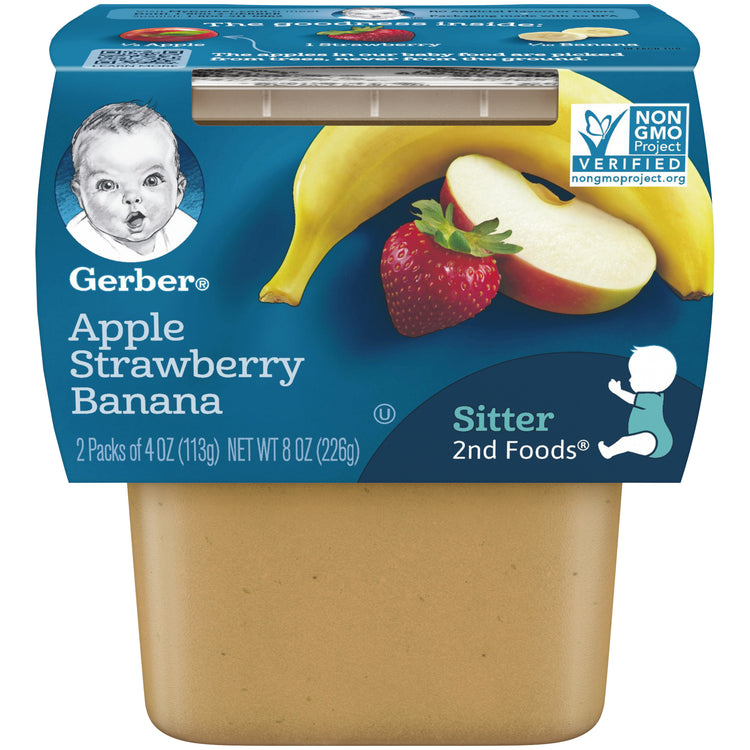 Gerber Apple Strawberry Banana Sitter 2nd Foods 226g, NON GMO