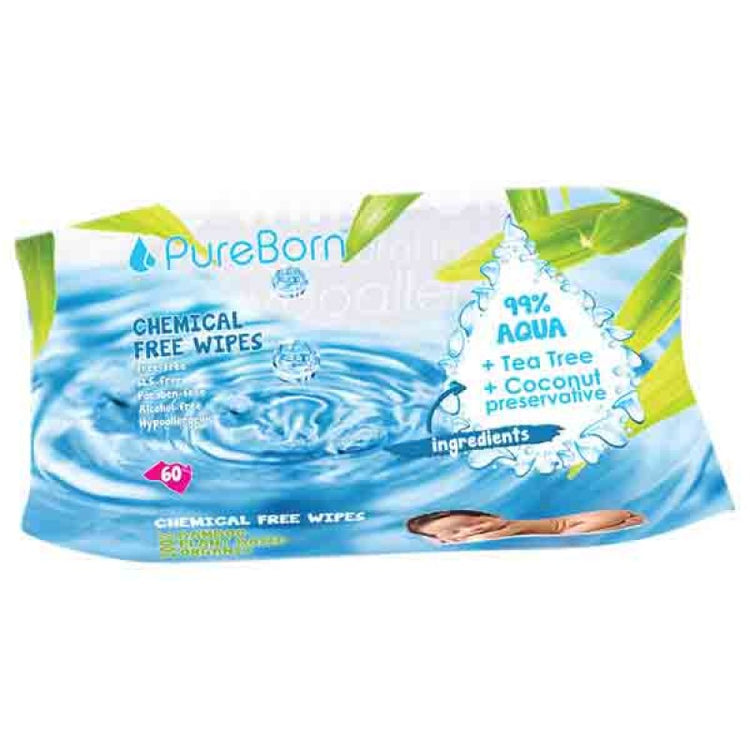 Pure Born Chemical Free Wipes Single 60's