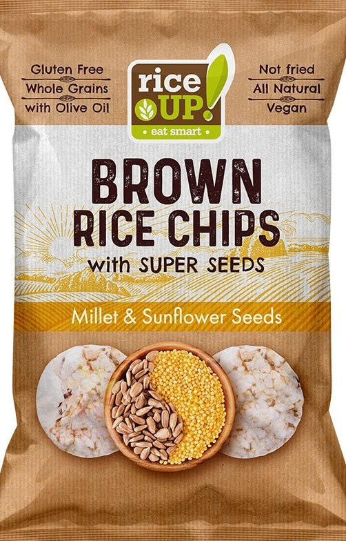 Rice Up Gluten Free Brown Rice Chips with Super Seeds Millet & Sunflower Seeds 25g