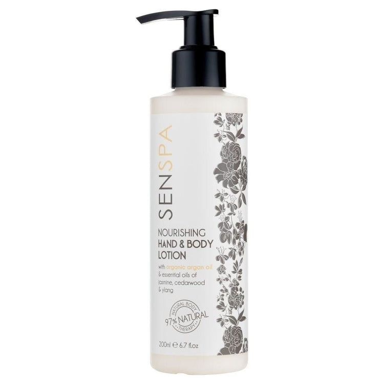 Senspa Nourish Hand & Body Lotion with Argan Oil Essential Oil of Jasmine, Cedarwood & Ylang 200ml