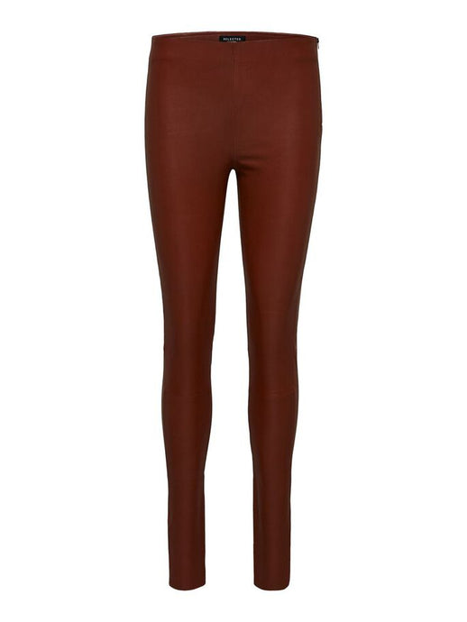SLFSYLVIA MW STRETCH LEATHER LEGGING | CHERRY MAHOGANY | SELECTED