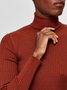 SLFCOSTA KNIT RIB ROLLNECK | SMOKED PAPRIKA | SELECTED