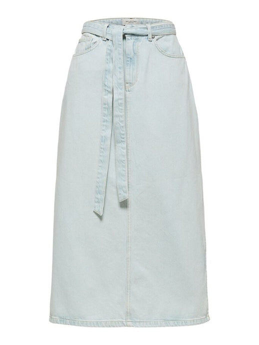 SLFALMA HW LONG DENIM ICE BLUE SKIRT | LIGHT BLUE DENIM | SELECTED