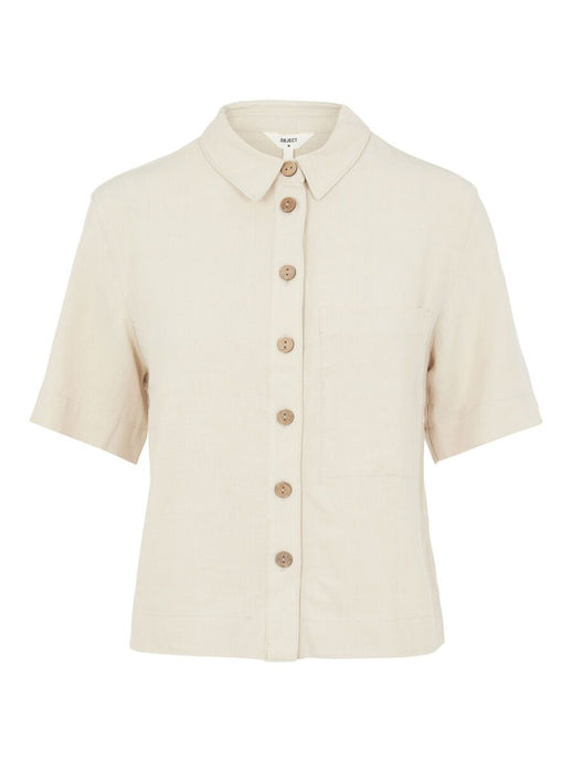 Button-up front short sleeved linen top.