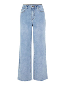 OBJSAVANNAH HIGH WAISTED WIDE FIT JEANS | LIGHT BLUE DENIM