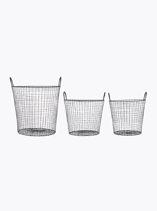 BASKETS WIRE (SET OF 3) | BLACK