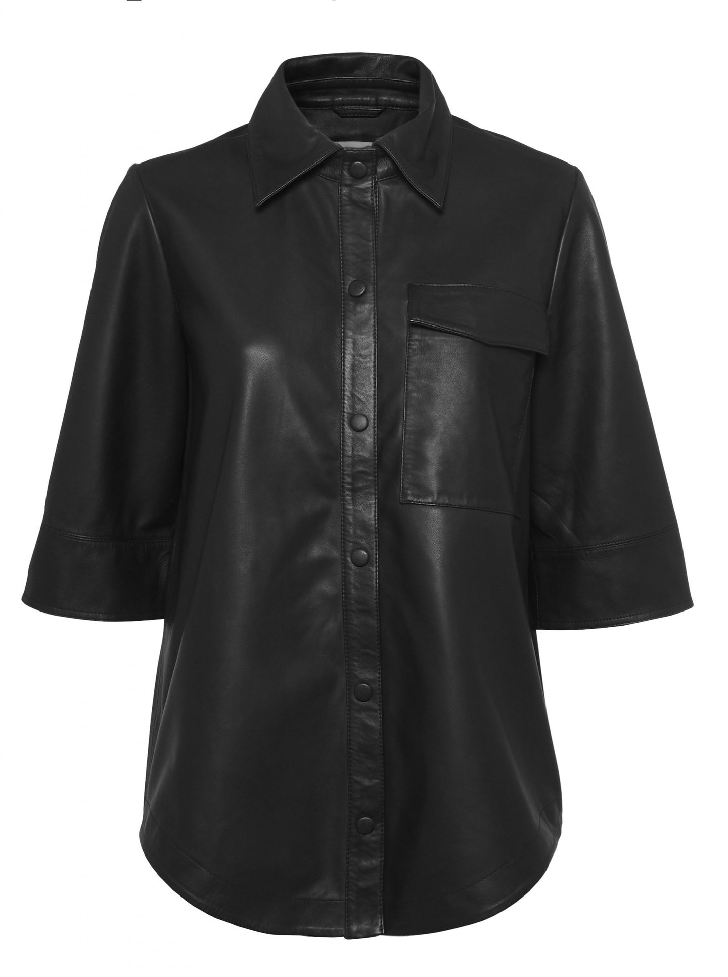 NIKO LEATHER SHIRT | BLACK