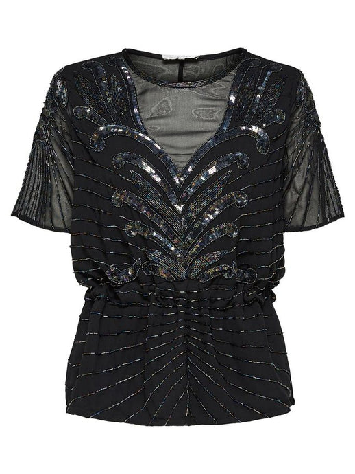 BEADED SHORT SLEEVED TOP SLFJUNA | SELECTED