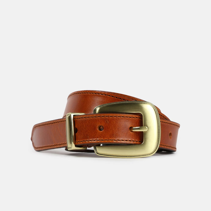 Belt with western looking buckle and metal loop.