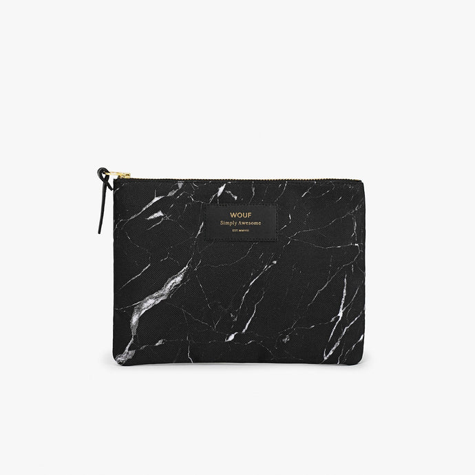 LARGE POUCH BLACK MARBLE  | WOUF