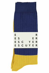 BLOCK SOCKS | BLUE WING TEAL / OLD GOLD | 30/45 | ESCUYER
