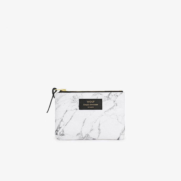 SMALL POUCH WHITE MARBLE | WOUF