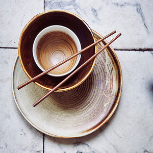 KYOTO CERAMICS: BROWN/WHITE BOWL | HK LIVING