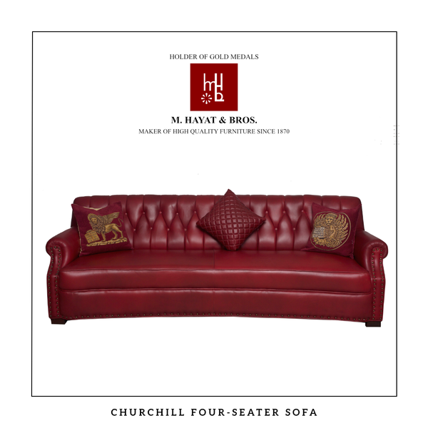 Churchill Style Leather Sofa Set (Four-Seater with two Single-Seaters)