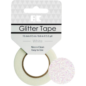 BEST CREATIONS GLITTER TAPE WHITE (IN STOCK)