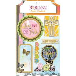 BO BUNNY FAITH LAYERED CHIPBOARD STICKER EMBELLISHMENTS (CLEARANCE)