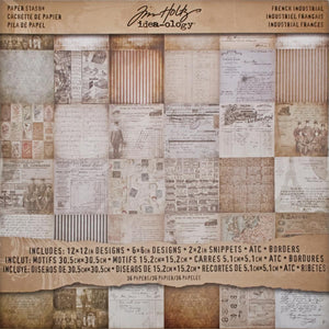"TIM HOLTZ IDEA-OLOGY PAPER STASH FRENCH INDUSTRIAL 12""X12"" (HAS TO BE ORDERED)"