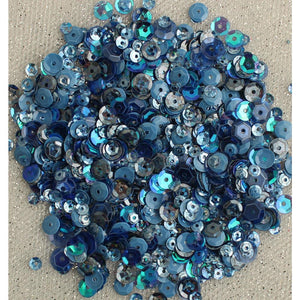 BUTTONS GALORE LILAC LANE TIN WITH SEQUINS DENIM BLUES (IN STOCK)