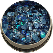 Load image into Gallery viewer, BUTTONS GALORE LILAC LANE TIN WITH SEQUINS DENIM BLUES (IN STOCK)