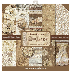 "STAMPERIA 12""X12"" PAPER PACK ""OLD LACE"" (HAS TO ORDERED)"