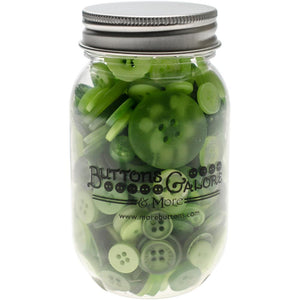 BUTTONS GALORE BUTTON MASON JARS GREENERY (IN STOCK)