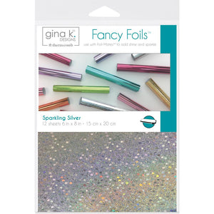 "GINA K DESIGNS FOIL 6X8"" SHEETS 12 PACK SPARKLING SILVER (IN STOCK)"