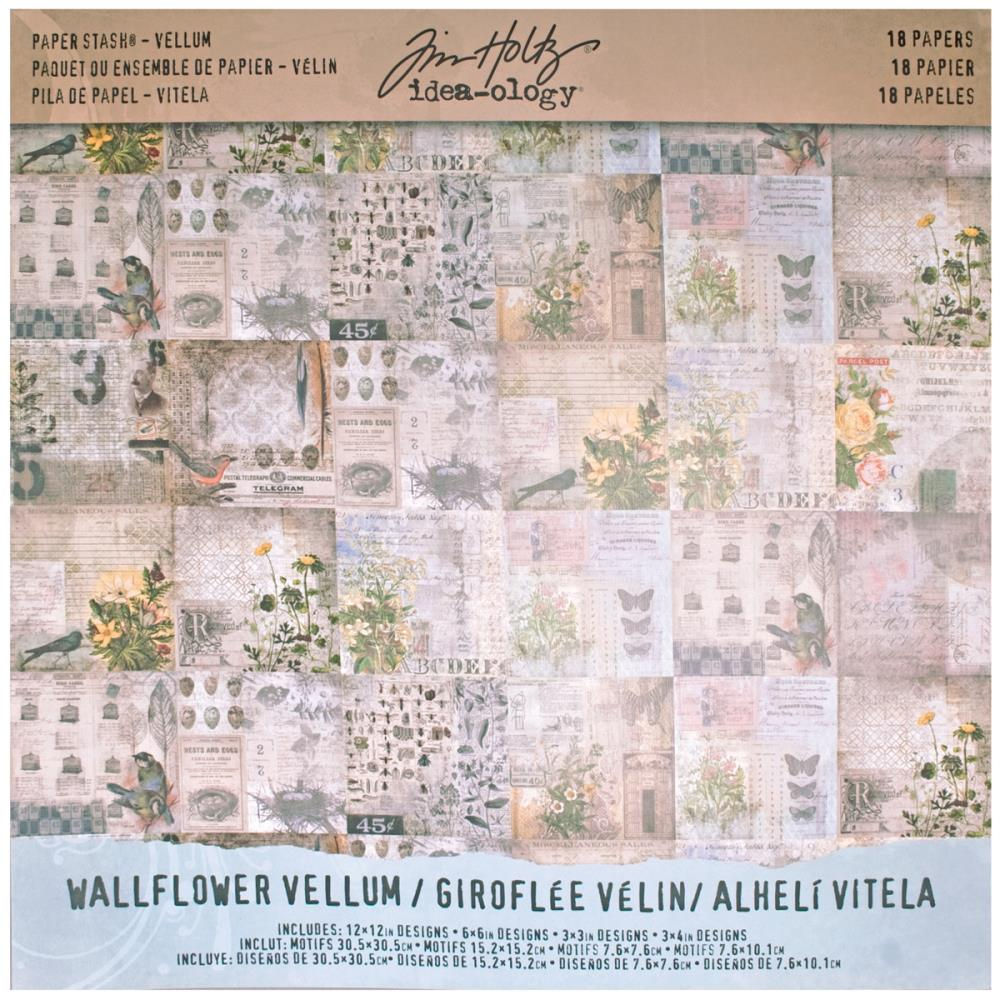 TIM HOLTZ IDEA-OLOGY PAPER STASH VELLUM WALLFLOWER 12