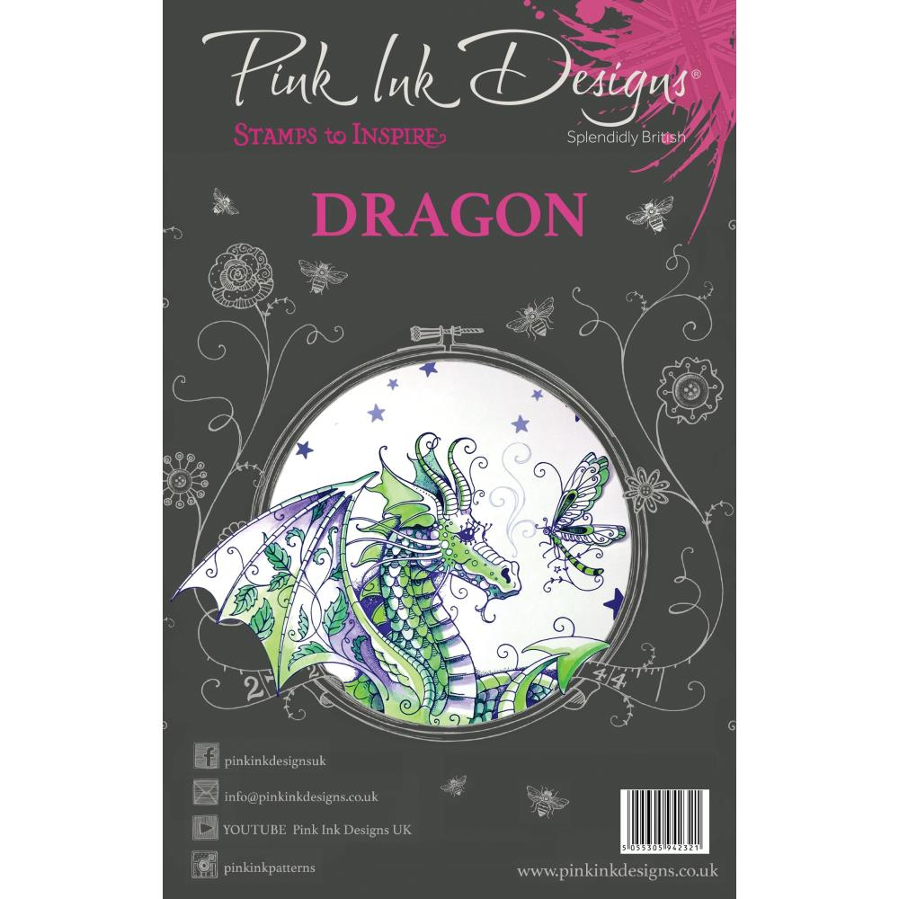 CREATIVE EXPRESSIONS CLEAR STAMPS A5 PINK INK DESIGNS DRAGON (HAS TO BE ORDERED)