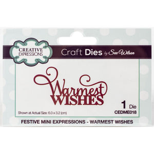 "CREATIVE EXPRESSIONS METAL DIE CUTS FESTIVE MINI ""WARMEST WISHES"" (IN STOCK)"