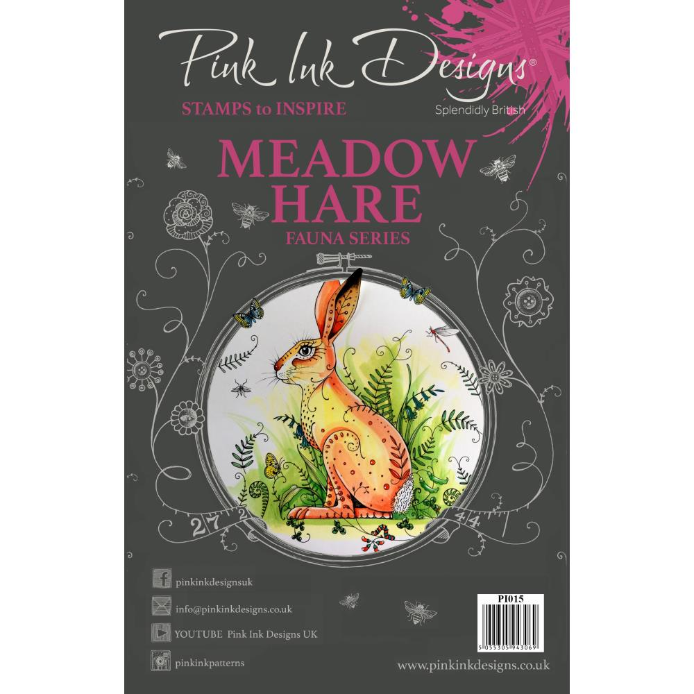 CREATIVE EXPRESSIONS CLEAR STAMPS A5 PINK INK DESIGNS MEADOW HARE (HAS TO BE ORDERED)