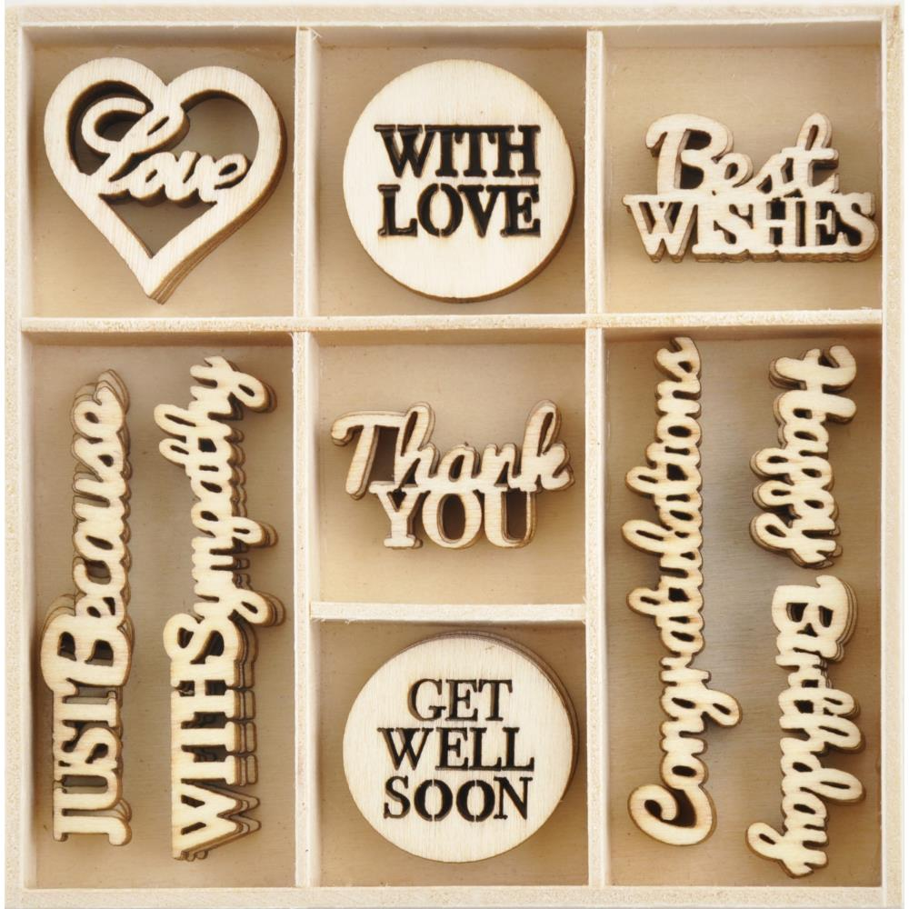KAISERCRAFT WOODEN EMBELLISHMENTS WITH LOVE (CLEARANCE)
